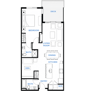 Summit Residences - Floorplan for 1bed 2bath - 1002 square feet