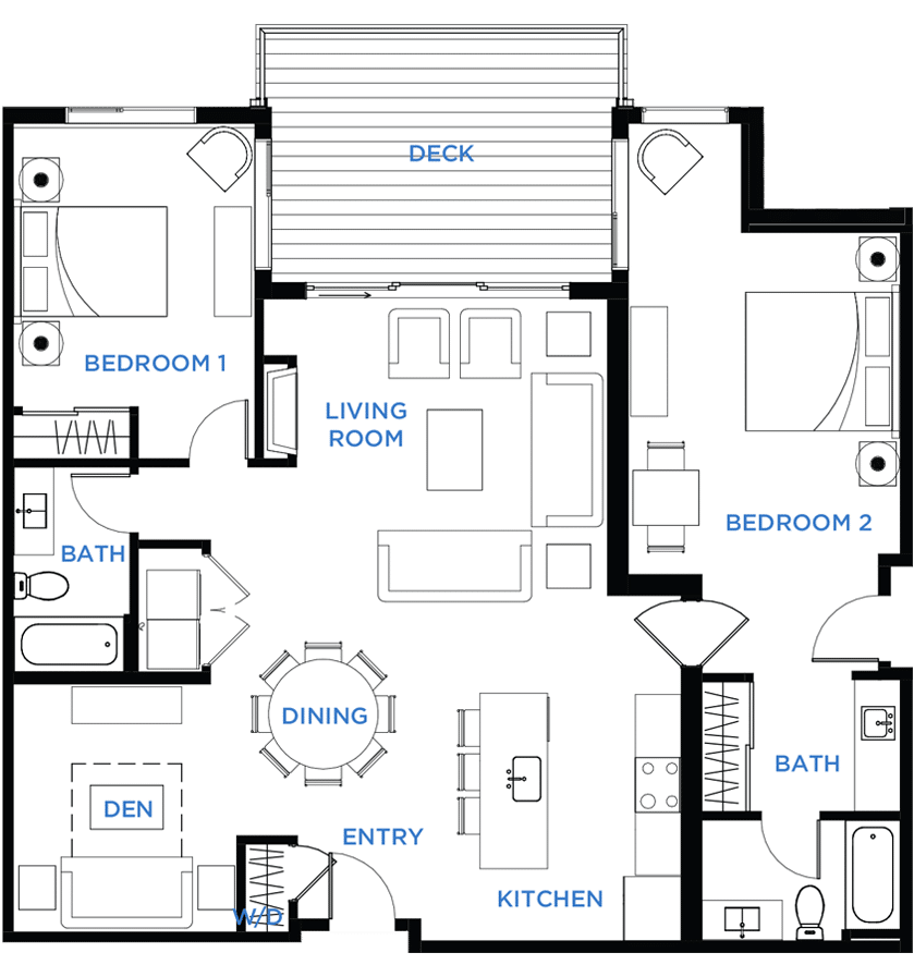 Summit Residences - Floorplan for 2bed 3bath 1lockoff - 1404 square feet