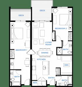 Summit Residences - Floorplan for 2bed 3bath 1lockoff - 1471 square feet