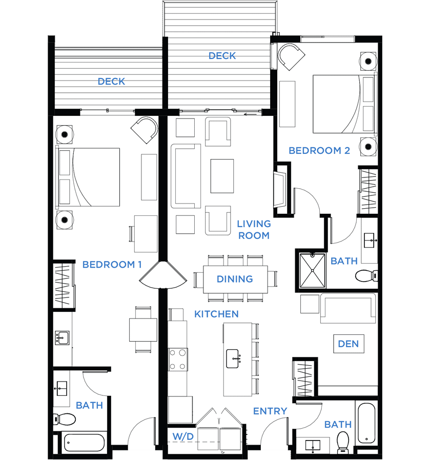 Summit Residences - Floorplan for 2bed 3bath 1lockoff - 1471 square feet