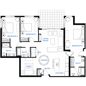 Image - Summit Residences - Floorplan for 3bed 3bath 1lockoff - 1713 square feet