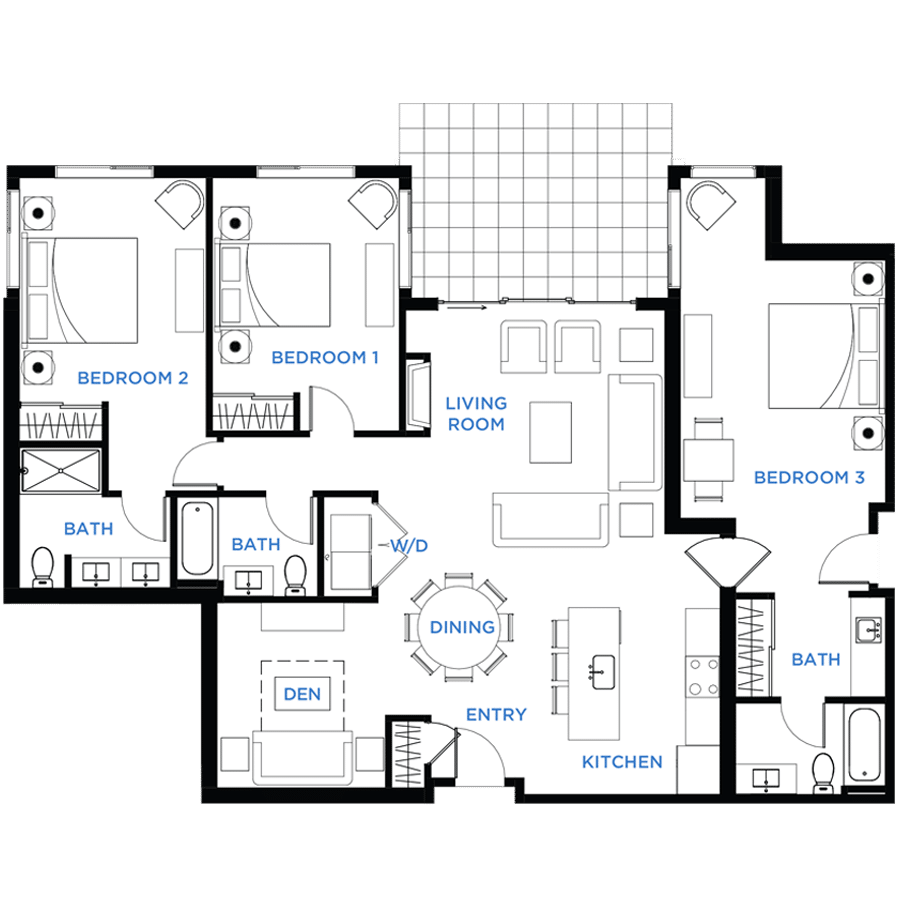Summit Residences - Floorplan for 3bed 3bath 1lockoff - 1713 square feet