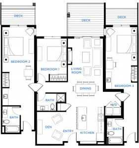 Image - Summit Residences - Floorplan for 3bed 3bath 2lockoff - 1860 square feet