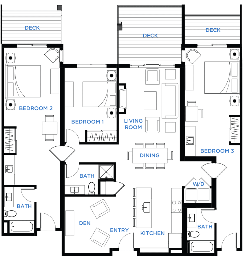Summit Residences - Floorplan for 3bed 3bath 2lockoff - 1860 square feet