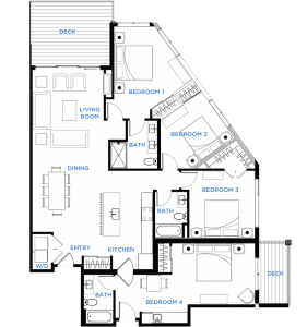 Summit Residences - Floorplan for 4bed 3bath 1lockoff - 1836 square feet