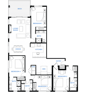 Summit Residences - Floorplan for 4bed 4bath 1lockoff - 2097 square feet