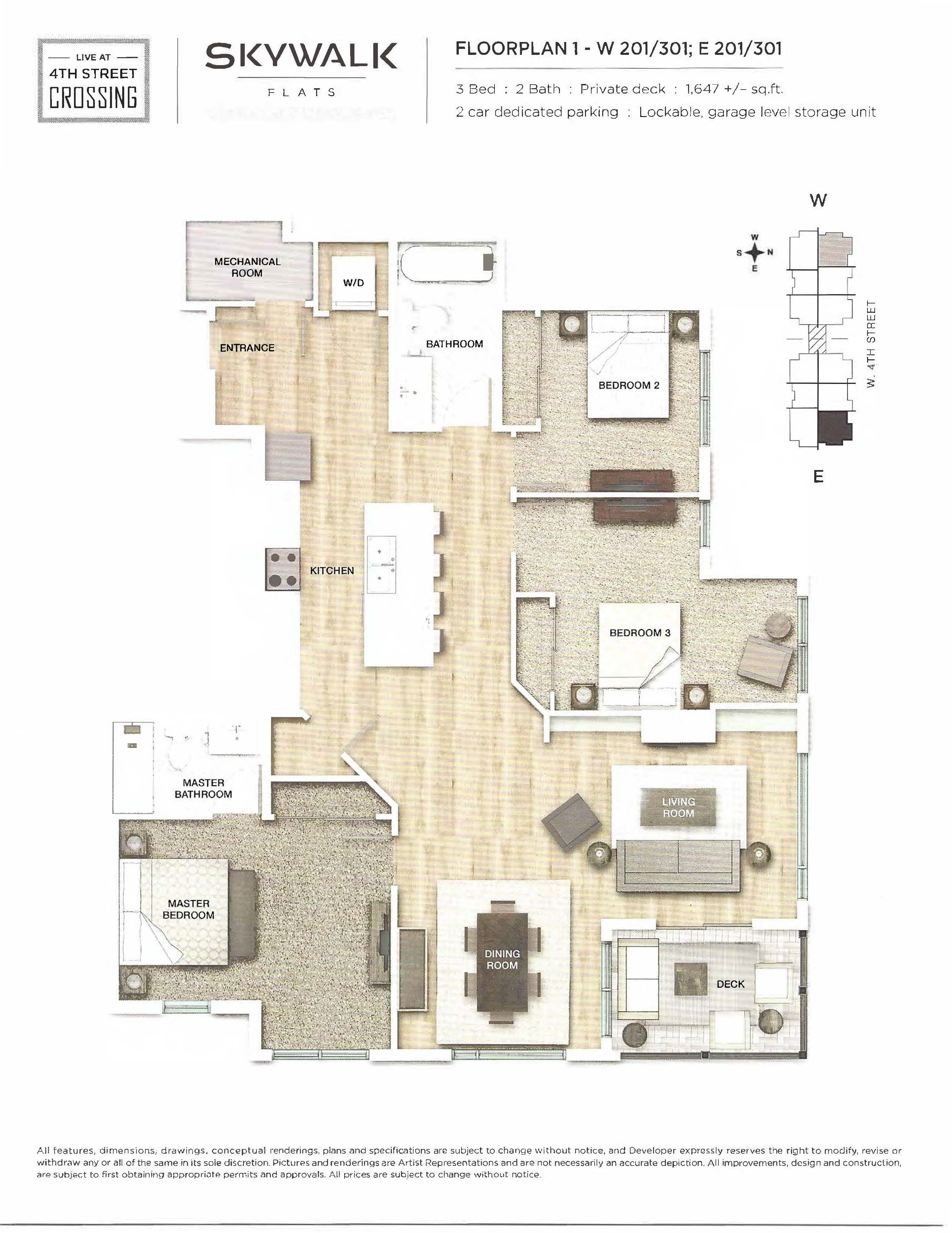 Fourth Street Crossing - Skywalk Flats - Floorplan 1