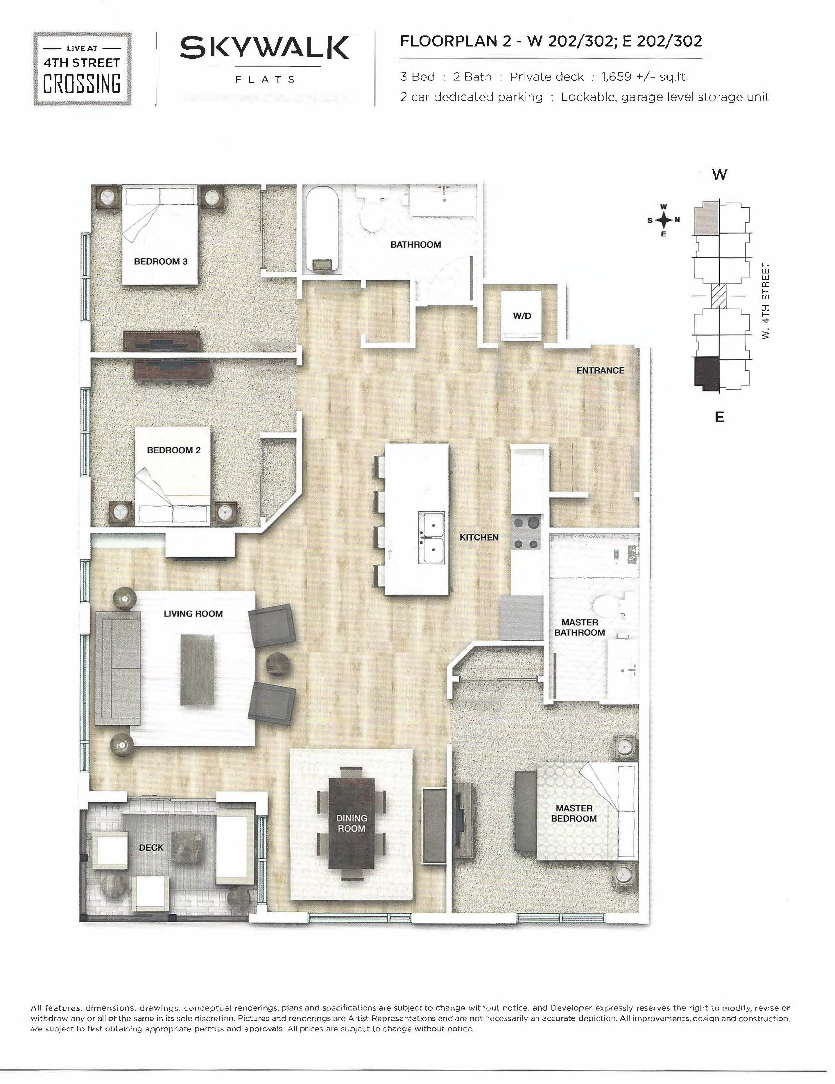 Fourth Street Crossing - Skywalk Flats - Floorplan 2
