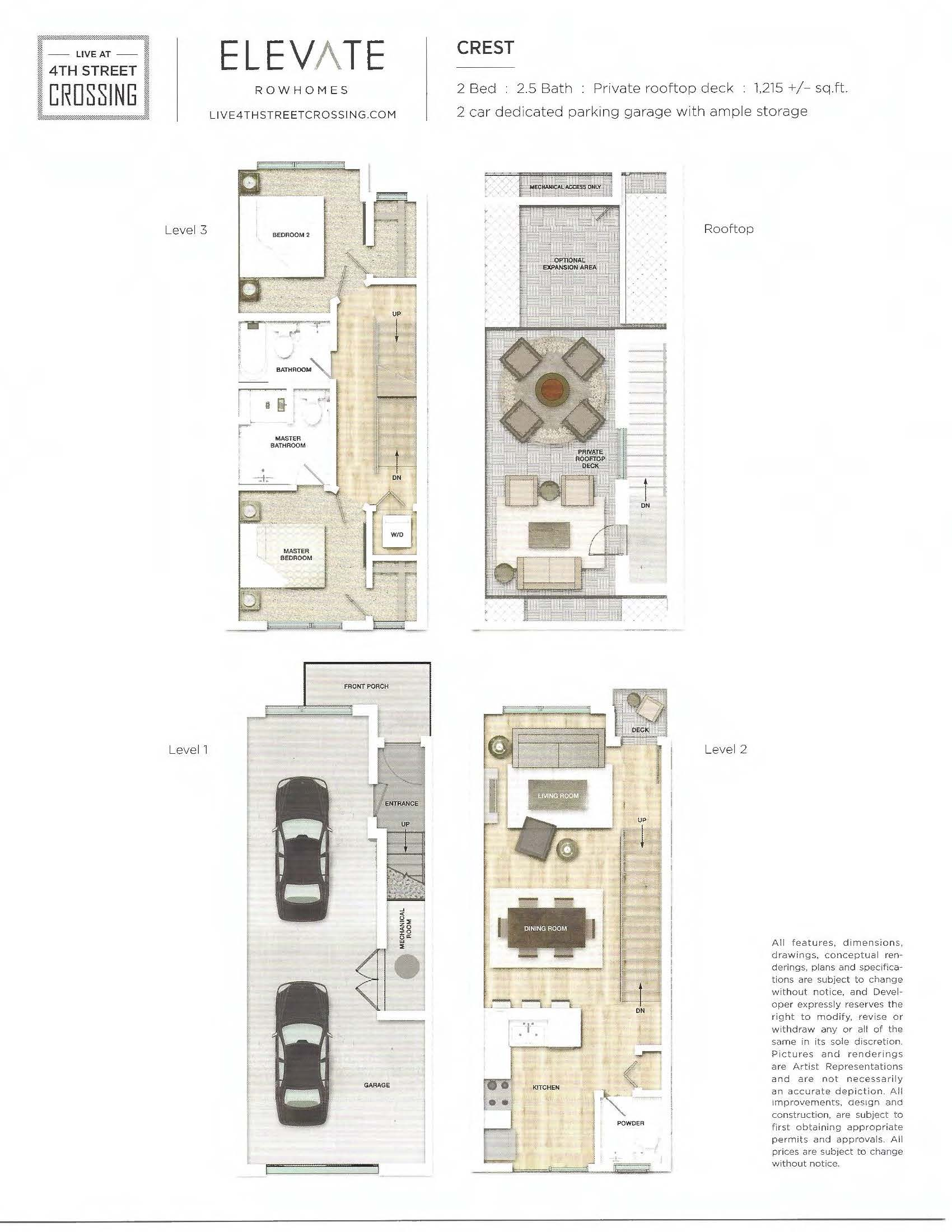 Fourth Street Crossing - Elevate Rowhomes - Crest Floorplan