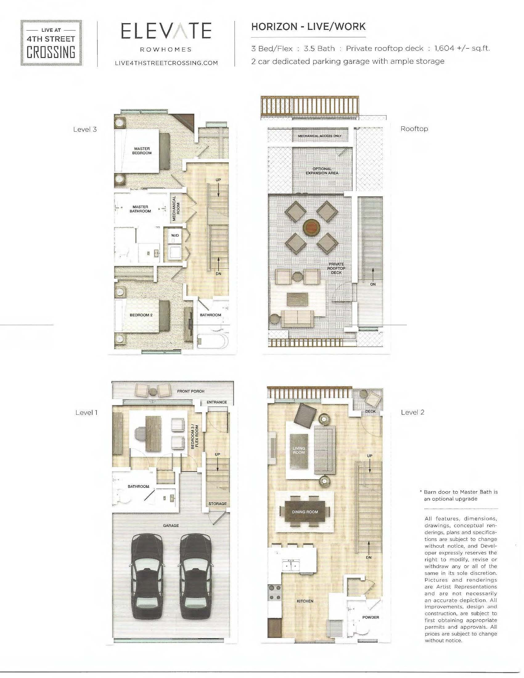 Fourth Street Crossing - Elevate Rowhomes - Horizon Floorplan