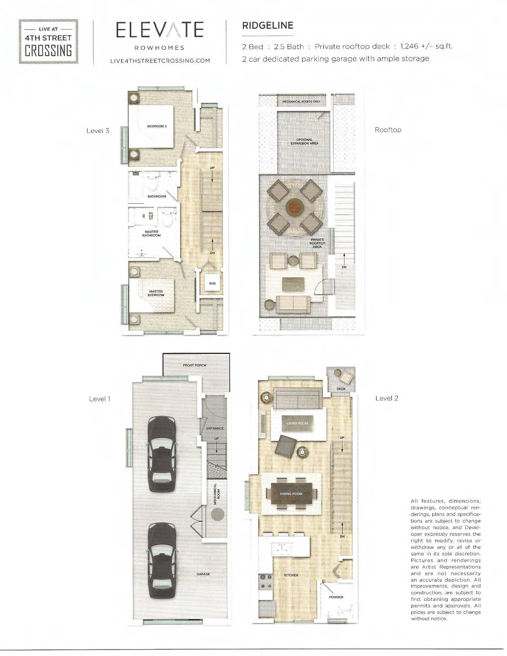 Fourth Street Crossing - Elevate Rowhomes - Ridgeline Floorplan