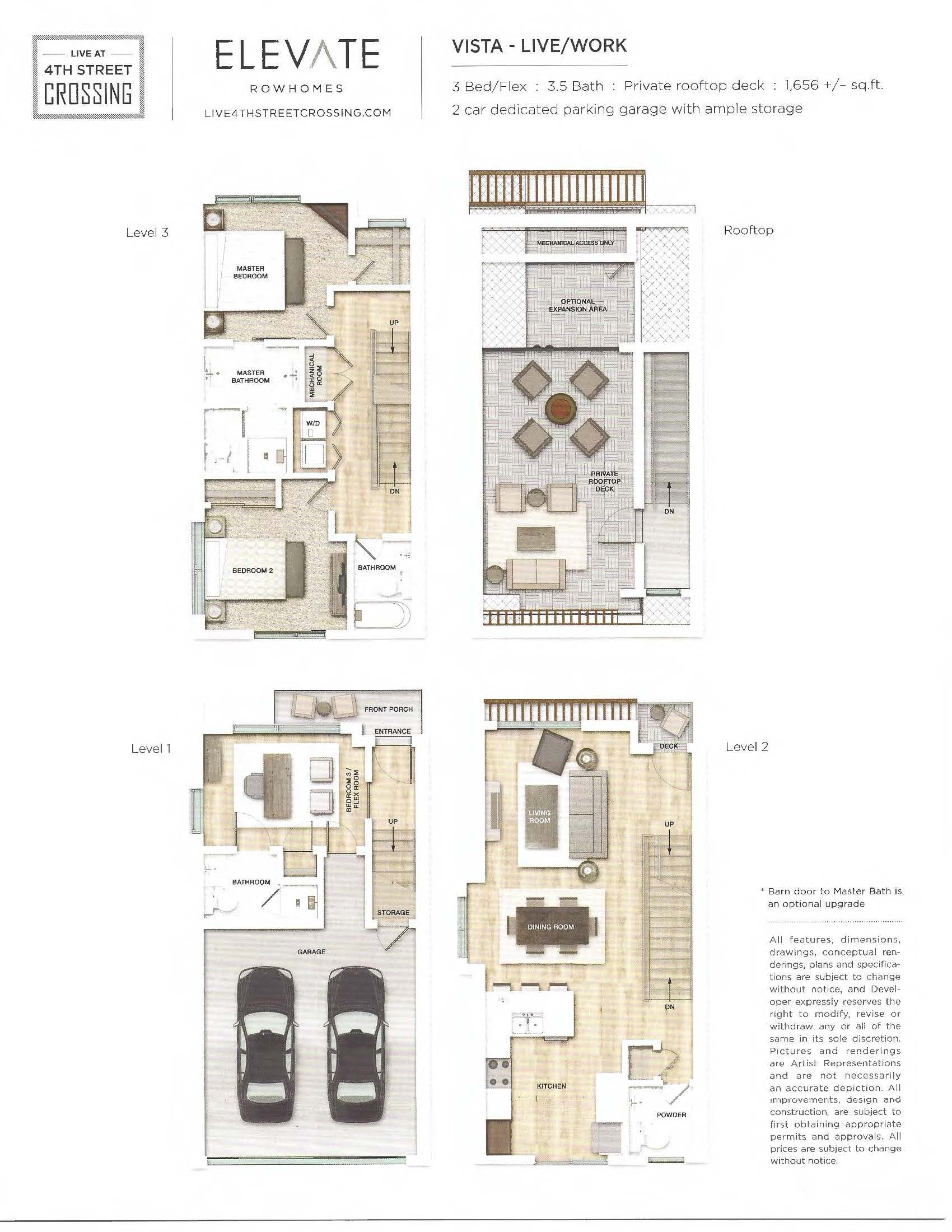 Fourth Street Crossing - Elevate Rowhomes - Vista Floorplan
